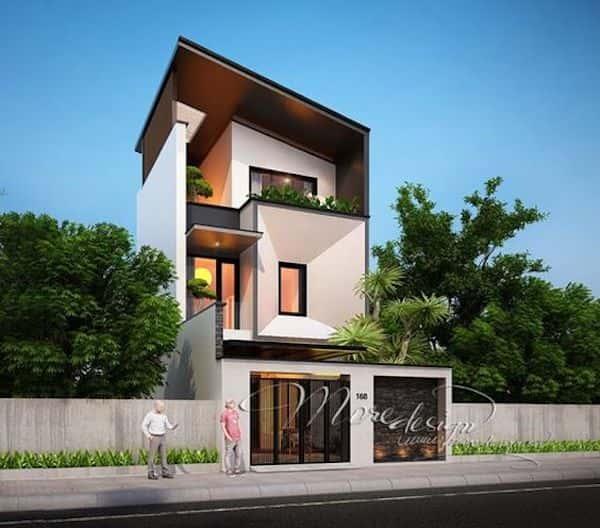 nha 3 tang dep 1 - Thiết kế nhà mặt tiền 4.7m anh Chung ở Quận 9, TPHCM