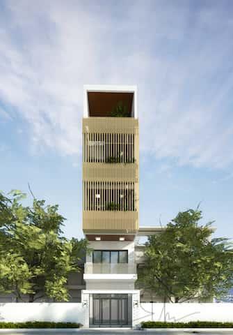 nha 5 tang kts phan dinh kha - Thiết kế nhà 5 tầng đẹp hiện đại chị Vân ở quận Bình Thạnh