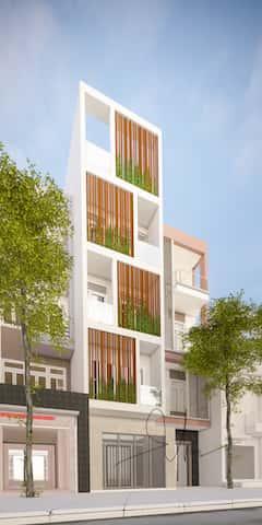 nha pho 5 tang kts phan dinh kha - Thiết kế nhà 5 tầng đẹp hiện đại chị Vân ở quận Bình Thạnh