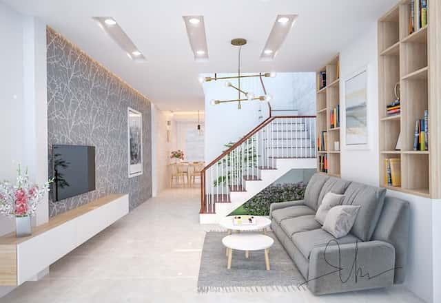 noi that nha pho ms van binh thanh khach v1 - Thiết kế nhà 5 tầng đẹp hiện đại chị Vân ở quận Bình Thạnh