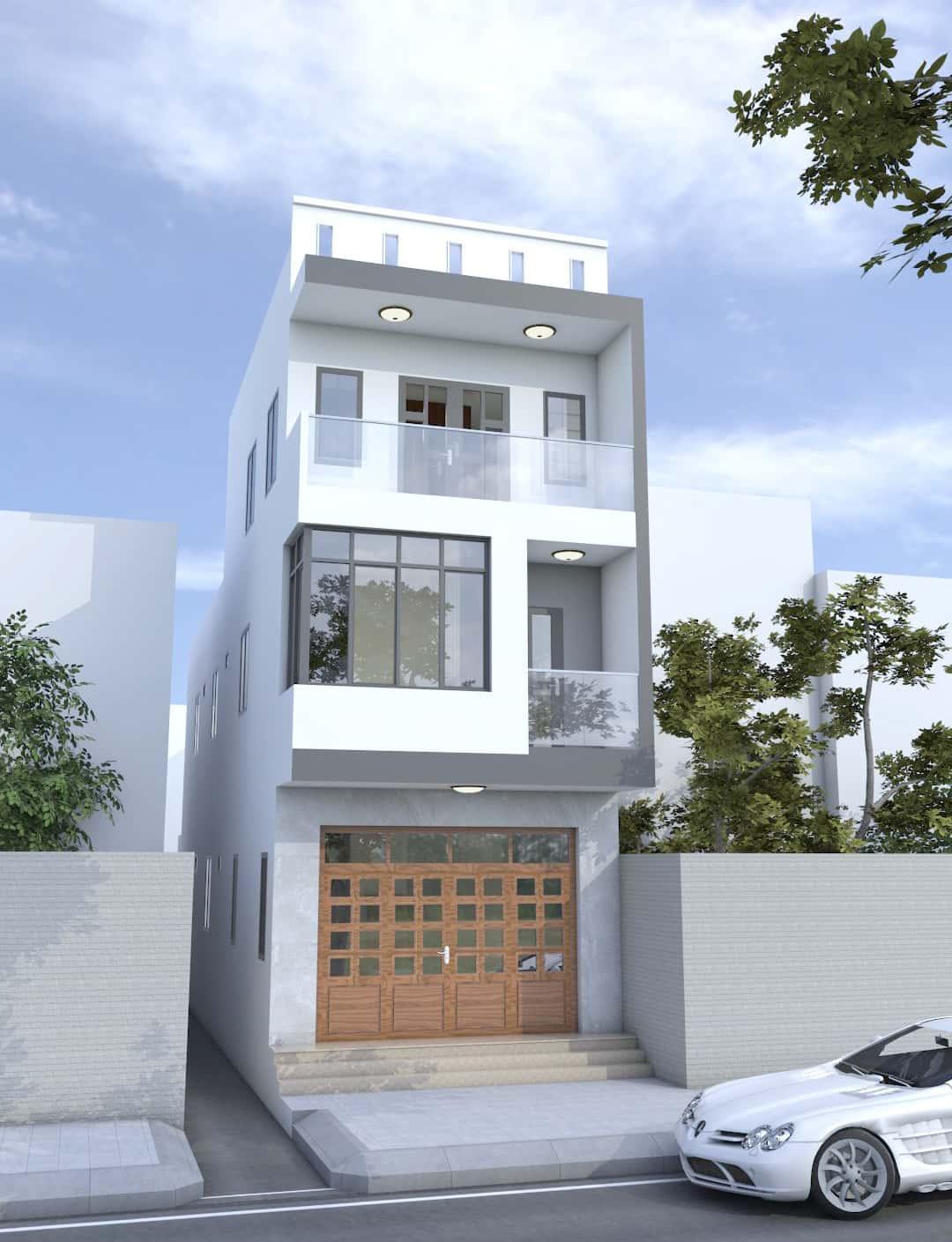 phoi canh - Thiết kế nhà mặt tiền 4.7m anh Chung ở Quận 9, TPHCM