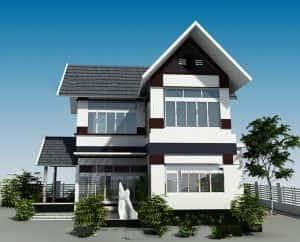 thiet ke biet thu 2 tang chu l 001 300x242 - 100 mẫu biệt thự 2 tầng 120m2 đẹp, sang trọng và tiện nghi