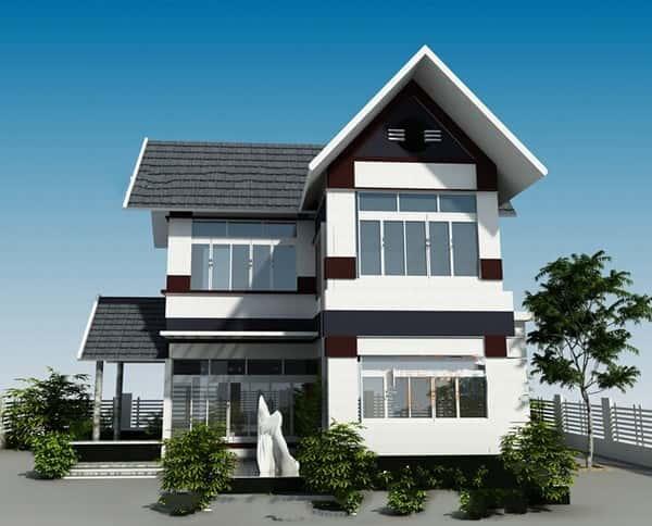 thiet ke biet thu 2 tang chu l 001 - Bộ sưu tập mẫu thiết kế biệt thự phố đẹp và sang trọng