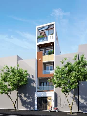 thiet ke nha 5 tang kts phan dinh kha - Thiết kế nhà 5 tầng đẹp hiện đại chị Vân ở quận Bình Thạnh