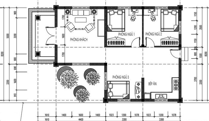 bản vẽ nhà cấp 4 - Bản vẽ nhà cấp 4 đẹp với công năng tối ưu chuẩn phong thuỷ