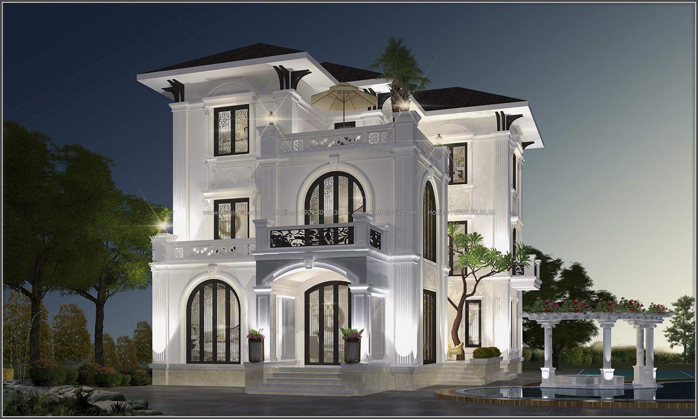 biệt thự 3 tầng 2 mặt tiền 1 - Chiêm ngưỡng mẫu thiết kế biệt thự 3 tầng mái thái tuyệt đẹp