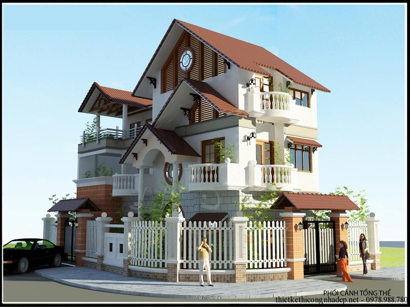 biệt thự 3 tầng 2 mặt tiền 3 - Thiết kế biệt thự phố 2 mặt tiền đẹp