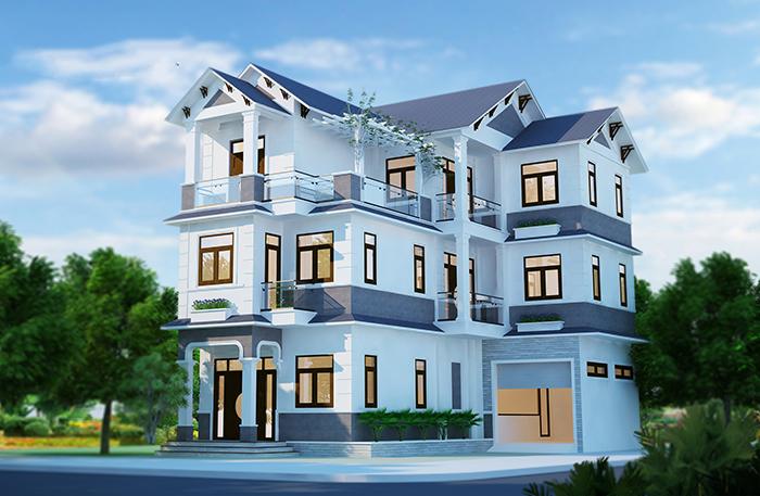 biệt thự 3 tầng 2 mặt tiền 5 - Biệt thự 3 tầng với kiến trúc hiện đại có nhiều cây xanh