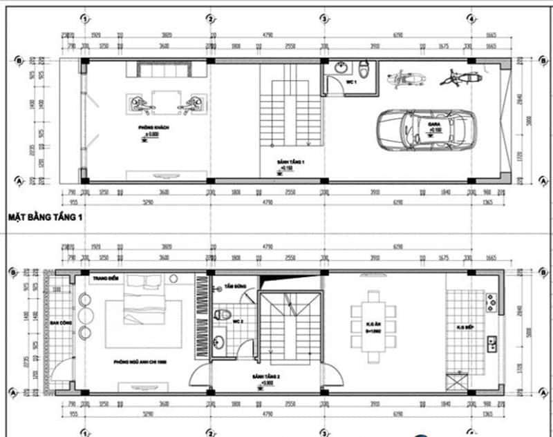 mat bang nha 3 tang 70m2 - Dự toán chi phí xây nhà 3 tầng 70m2 đẹp với phong cách ấn tượng