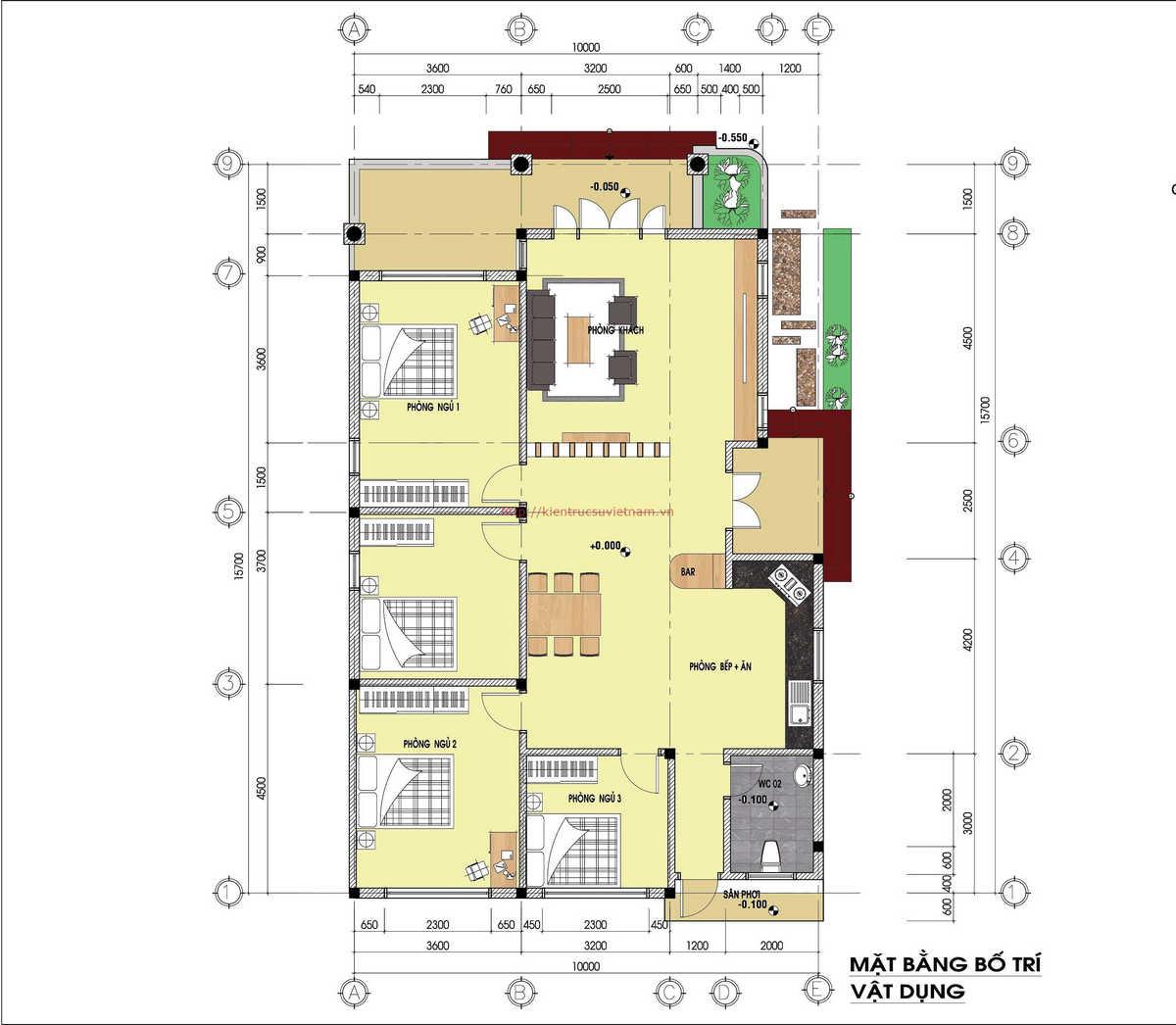 mau nha cap 4 nong thon 2 - Thiết kế biệt thự 1 tầng 120m2