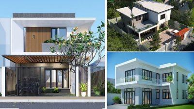nha 2 tang mai bang dep 400x225 - Thiết kế nhà 2 tầng mái bằng đẹp tối ưu công năng phong thuỷ