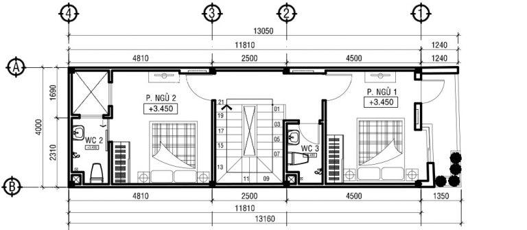thiết kế nhà ống 3 tầng mặt tiền 4m 2 - Bản vẽ cad thiết kế nhà phố 3 tầng diện tích 5x8 lệch tầng