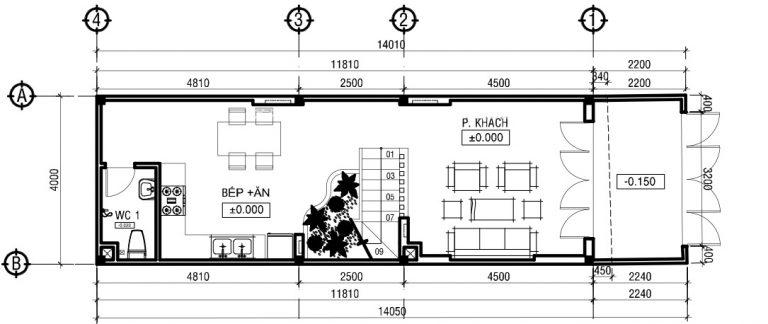 thiết kế nhà ống 3 tầng mặt tiền 4m - Bản vẽ cad thiết kế nhà phố 3 tầng diện tích 5x8 lệch tầng