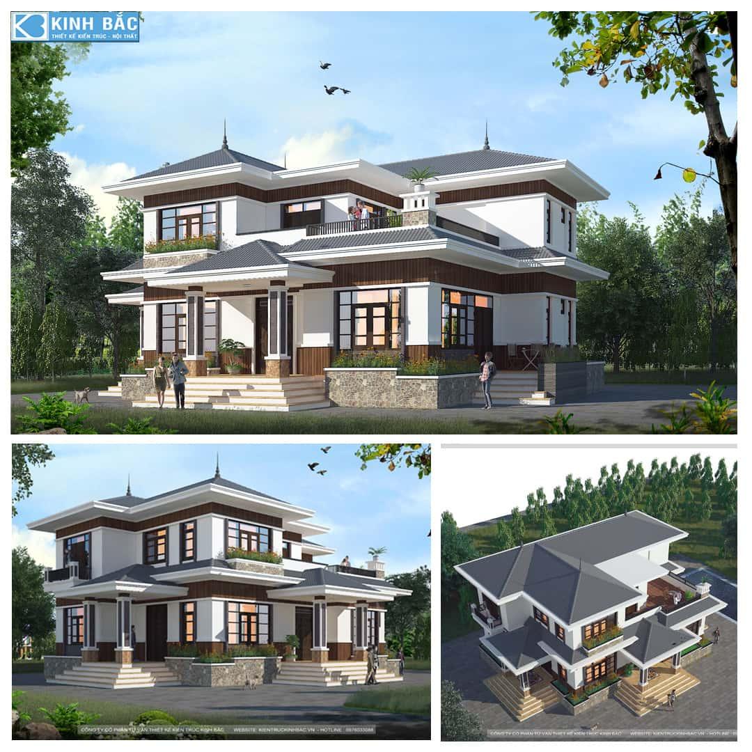 A THANG 1 - Thiết kế biệt thự 2 tầng mái thái đẹp và chuyên nghiệp