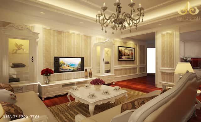 Thiet ke noi that phong khach tan co dien 1 - Thiết kế nội thất phòng khách tân cổ điển