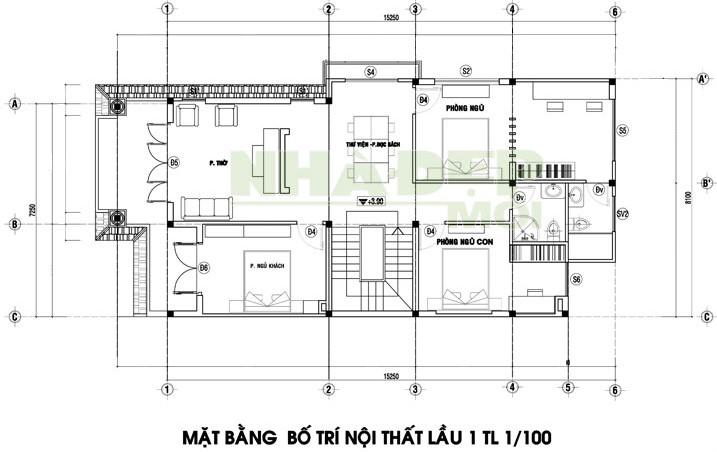 bản vẽ biệt thự 2 tầng