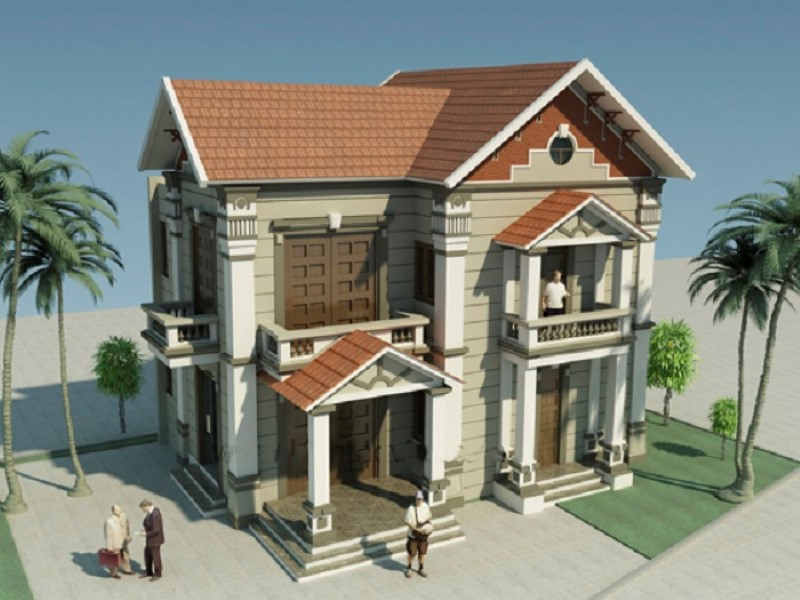 biệt thự 2 tầng 2 mặt tiền 6 - 45 Mẫu nhà 2 tầng mái ngói đẹp được nhiều kts lựa chọn thiết kế