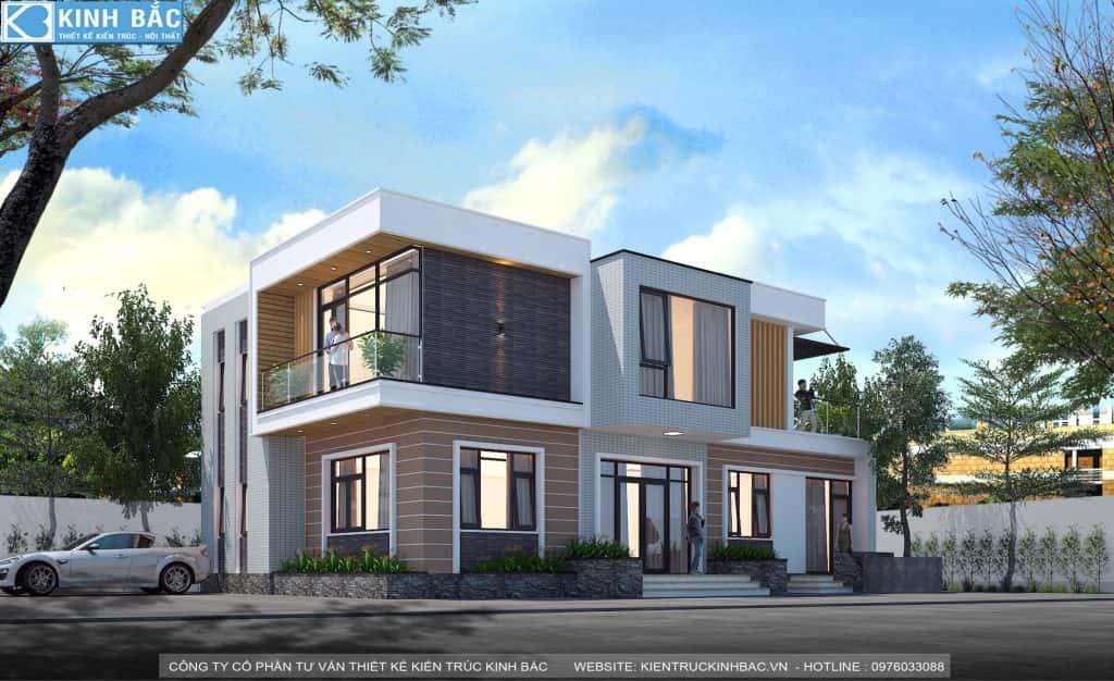 biet thu 2 tang hien dai 3 1024x626 - Thiết kế biệt thự 2 tầng hiện đại 120m2 anh Lâm, Sóc Sơn
