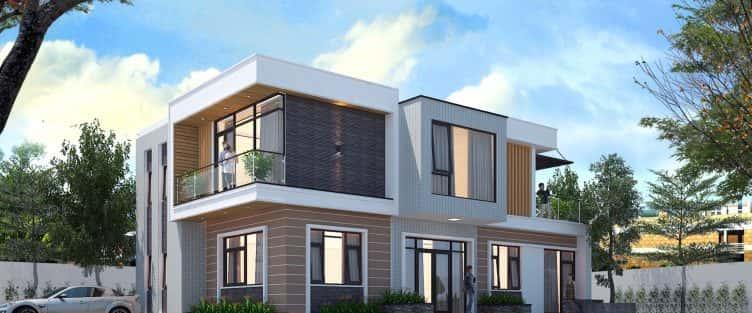 Thiết kế biệt thự 2 tầng hiện đại 120m2 anh Lâm, Sóc Sơn