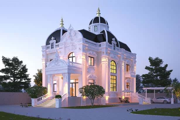 biet thu 2 tang kieu chau au 2 - 100 Mẫu biệt thự 2 tầng kiểu Pháp đẹp đến từng chi tiết