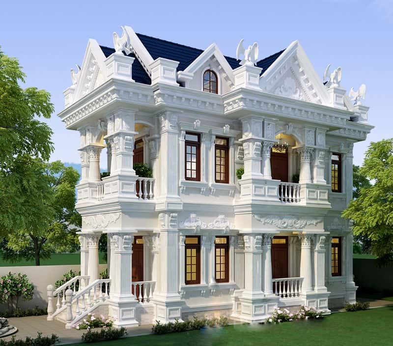 biet thu 2 tang kieu chau au 3 - 100 Mẫu biệt thự 2 tầng kiểu Pháp đẹp đến từng chi tiết