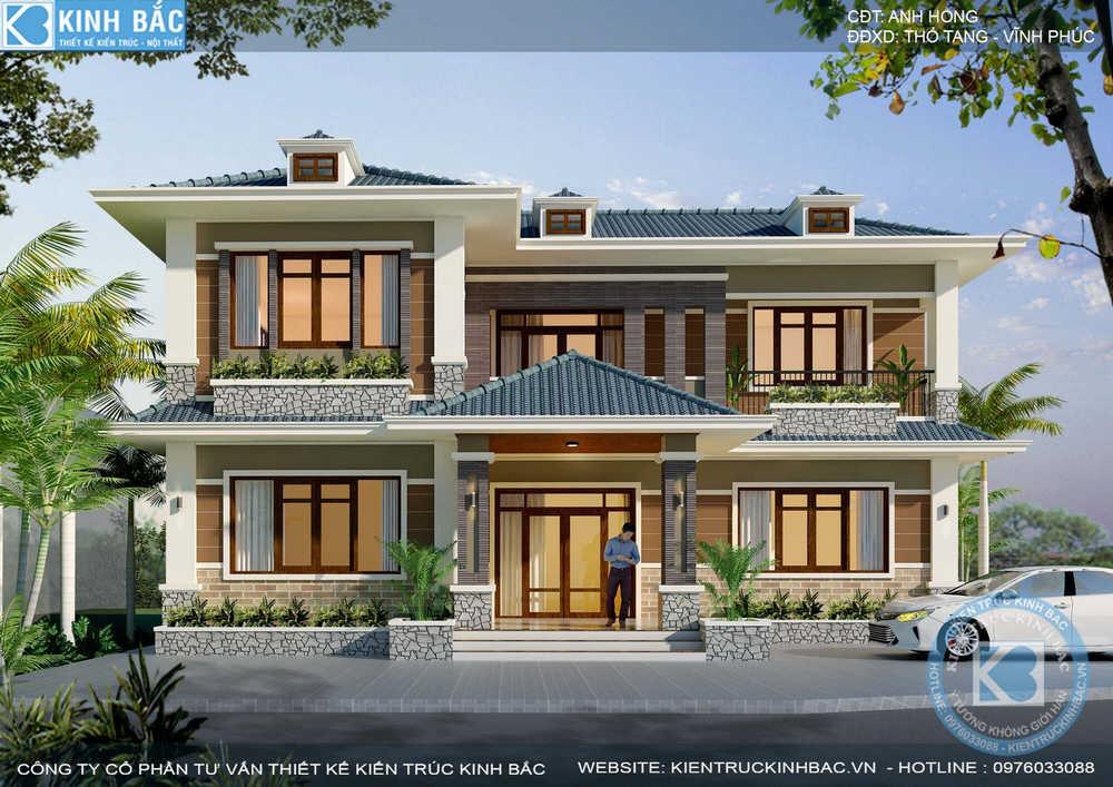 Mẫu biệt thự 2 tầng mini đẹp anh Hồng ở Thổ Tang, Vĩnh Phúc