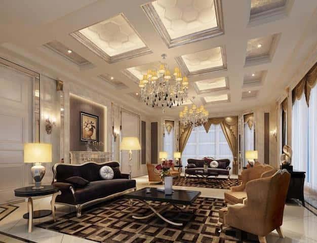 luxury living room designs - Thiết kế nội thất phòng khách tân cổ điển