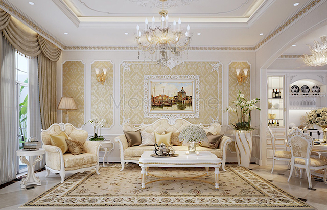 noi that biet thu tan co dien 5 - Thiết kế nội thất phòng khách biệt thự đẹp sang trọng cao cấp