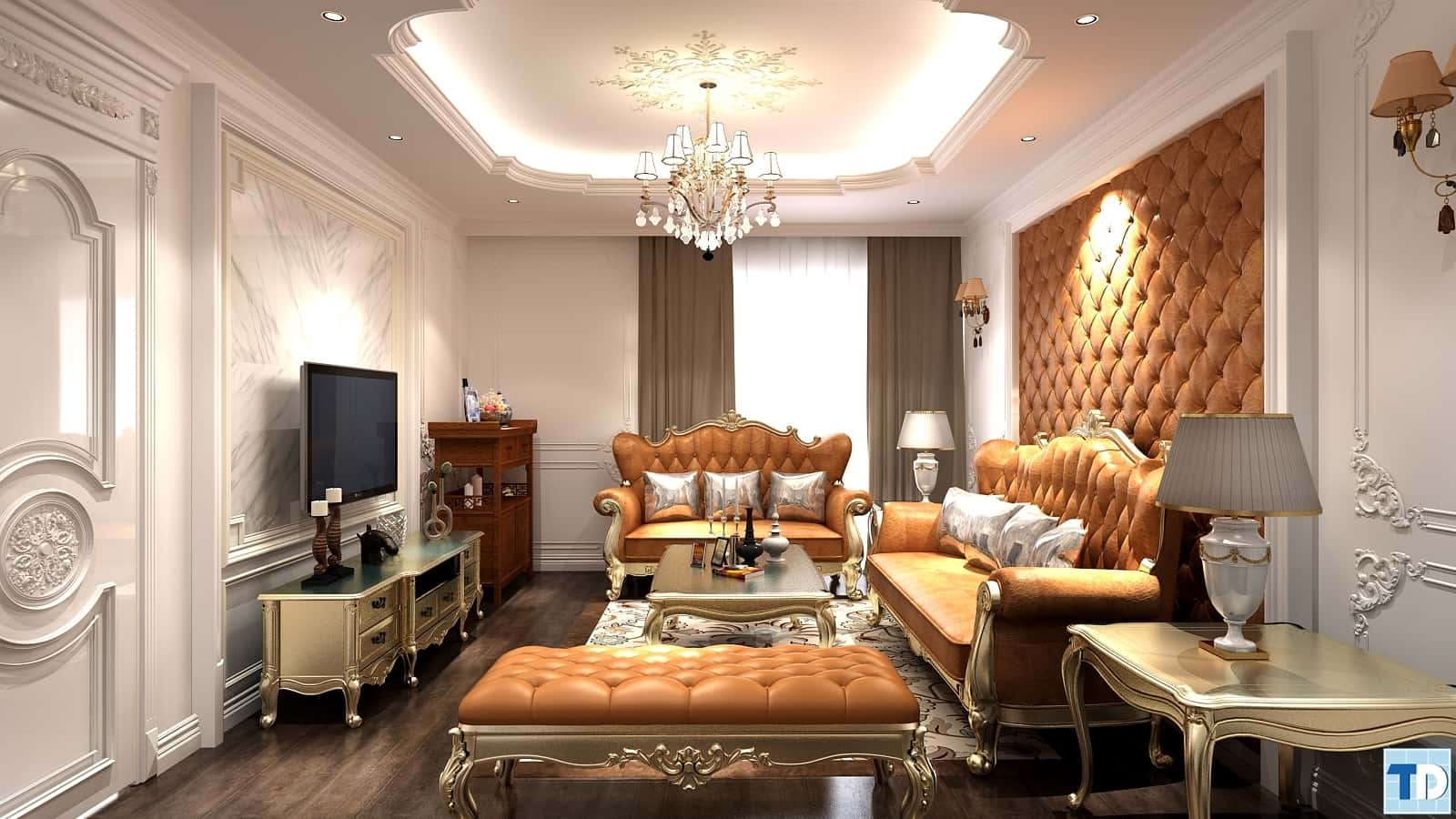 noi that phong khach tan co dien 6 - Thiết kế nội thất phòng khách tân cổ điển