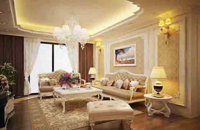 phong khach tan co dien 1 - Thiết kế nội thất phòng khách tân cổ điển