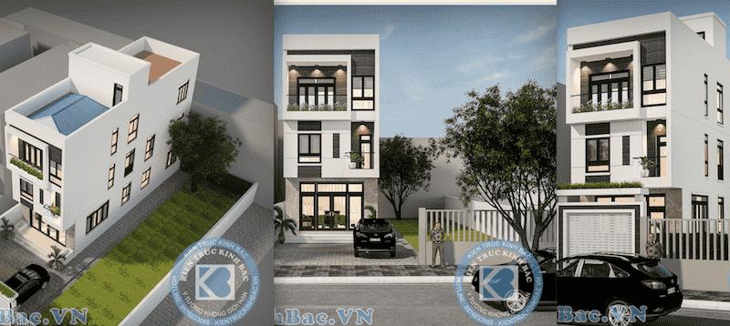 thiet ke nha pho 3 tang - Thiết kế nhà 5m x 16m anh Hưng Từ Sơn, Bắc Ninh