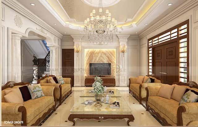 thiet ke noi that anh thuc 6 1 - Thiết kế nội thất phòng khách tân cổ điển
