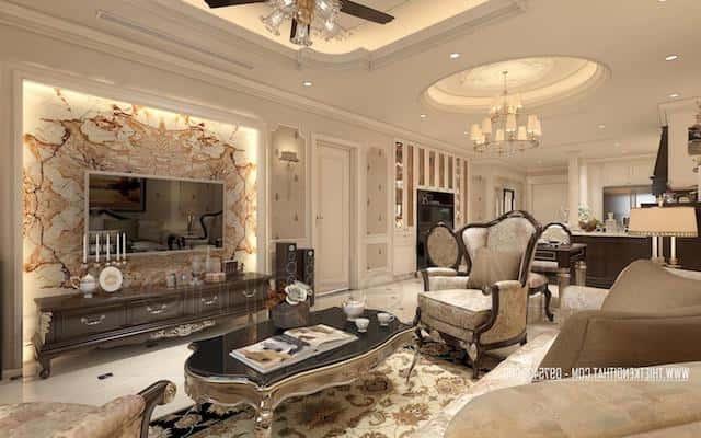 thiet ke noi that chung cu tan co dien 10 - Thiết kế nội thất phòng khách tân cổ điển