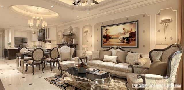 Thiết kế nội thất phòng khách tân cổ điển sang trọng và đẳng cấp