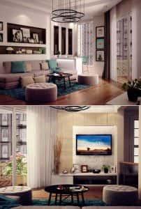 thiet ke noi that phong khach chung cu 7 202x300 - Thiết kế nội thất phòng khách chung cư ->> 10 mẫu nổi bật tạo không gian đẳng cấp