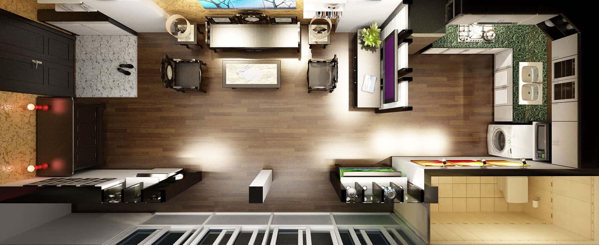 thiet ke noi that phong khach lien bep 11 - Thiết kế nội thất phòng khách liền bếp với 20 mẫu ấn tượng nhất