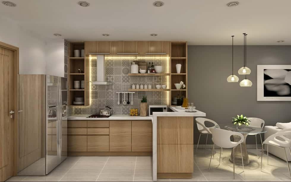 thiet ke noi that phong khach lien bep 14 - Thiết kế nội thất phòng khách liền bếp với 20 mẫu ấn tượng nhất