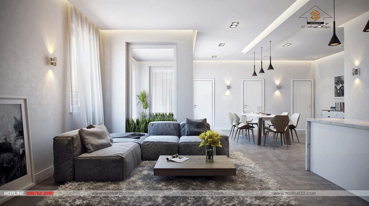 """thiet ke noi that phong khach lien bep 15 - 20 mẫu thiết kế nội thất phòng khách hiện đại """"HÚT HỒN"""" người Việt"""
