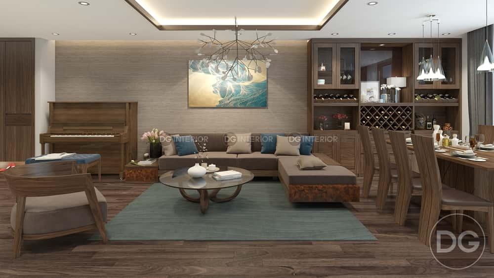 thiet ke noi that phong khach lien bep 4 - Thiết kế nội thất phòng khách liền bếp với 20 mẫu ấn tượng nhất