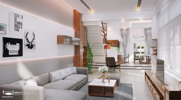 """thiet ke noi that phong khach lien bep 6 - Thiết kế nội thất phòng khách 25m2 với 20 mẫu """"ngon, bổ, rẻ"""" nhất"""