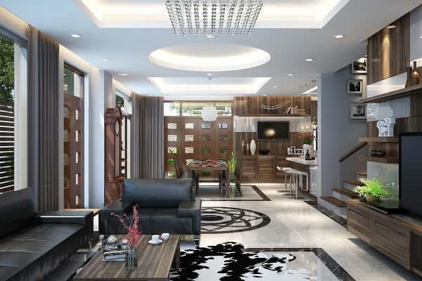 """thiet ke noi that phong khach lien bep 7 - Thiết kế nội thất phòng khách 25m2 với 20 mẫu """"ngon, bổ, rẻ"""" nhất"""