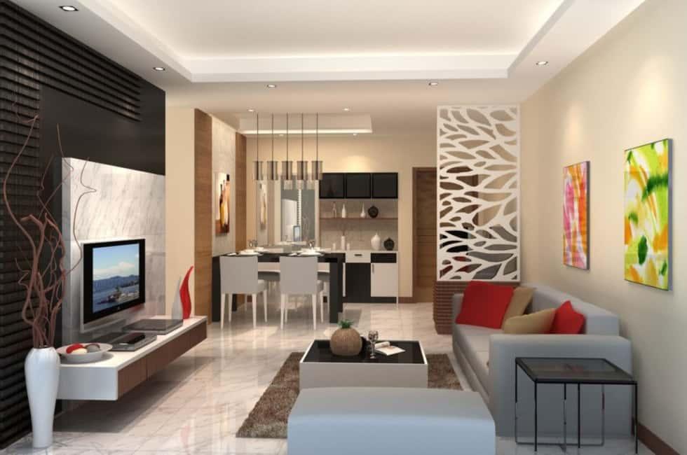 """thiet ke noi that phong khach lien bep 8 - Thiết kế nội thất phòng khách 25m2 với 20 mẫu """"ngon, bổ, rẻ"""" nhất"""