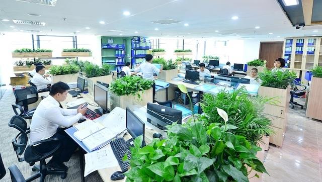 van phong xanh 1 - Thiết kế nội thất văn phòng đẹp