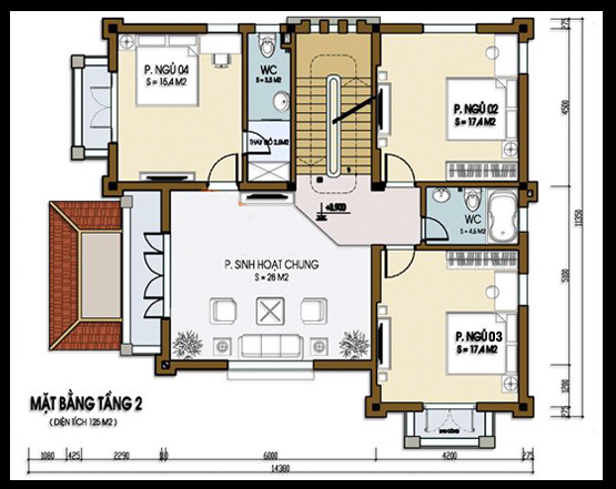 bản vẽ biệt thự 3 tầng