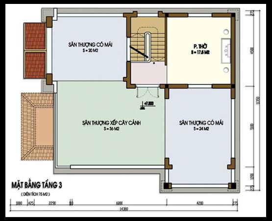 bản vẽ biệt thự 3 tầng 6 - Biệt thự 3 tầng tân cổ điển | Thiết kế biệt thự 3 tầng tân cổ điển
