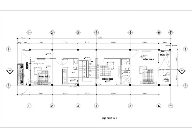 Những mẫu bản vẽ nhà ống 2 tầng đẹp nhất