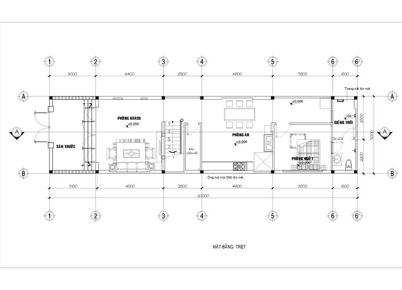 ban ve thiet ke nha pho 2 tang 5x20m.jpg - Tổng hợp 4 mẫu nhà phố 2 tầng đẹp tối ưu công năng