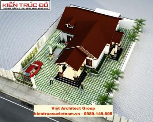 biet thu 1 tang dep 1 500x400 - Ảnh công trình thiết kế biệt thự 1 tầng đẹp