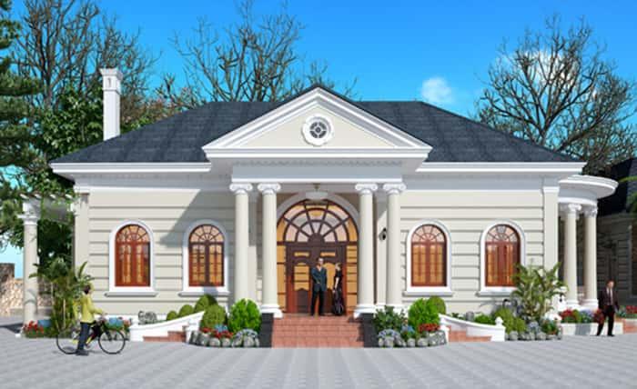 biet thu 1 tang kieu phap 4 - Thiết kế biệt thự 1 tầng đẹp