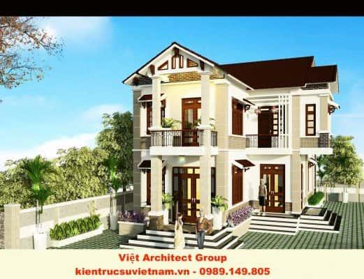 biet thu dep chu l 521x400 - Ảnh công trình thiết kế biệt thự 2 tầng đẹp